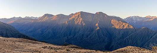 Browning Range during winter sunrise, Lake Kaniere Scenic Reserve, West Coast, New Zealand.jpg