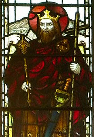 Brychan - Brychan depicted in a window of the church in Brecon, Wales.