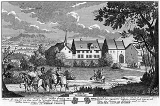 Ritterhaus Bubikon - Bubikon commandry in 1742, drawing by David Herrliberger