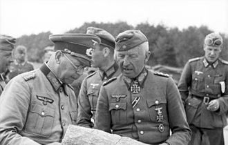 8th Panzer Division (Wehrmacht) - Erich Branderberger (left), divisional commander of the 8th Panzer at the time of Operation Barbarossa, in conversation with von Manstein June 21, 1941