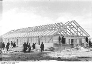 Riga Ghetto - December 22, 1941: Forced labor used to construct Salaspils concentration camp.