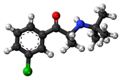 Ball-and-stick model of the (S) isomer of the bupropion molecule