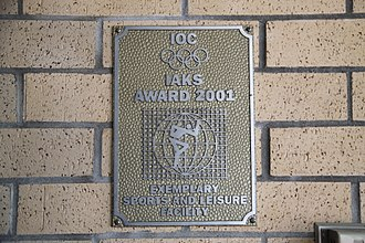 International Association for Sports and Leisure Facilities - Image: Burnaby eileen dailly pool ioc award plaque