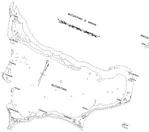 Butaritari - Butaritari Atoll and part of Makin (upper right). Most of Makin is missing from this map and only a portion is visible.