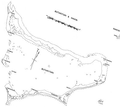 Butaritari Atoll and part of Makin (upper right). Most of Makin is missing from this map and only a portion is visible.