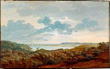 Caspar David Friedrich: Rügenlandschaft mit Meeresbucht, Gouache über Graphit, um 1802 (Quelle: Wikimedia)