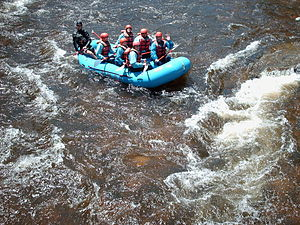 Cache la Poudre River - Rafters on the Poudre River near the Grey Rock trailhead