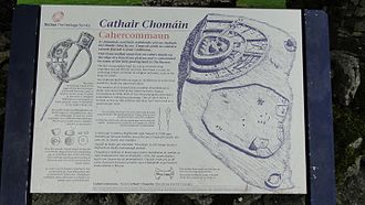 Cahercommaun - Public info sign near the access to Cahercommaun ringfort, showing what the fort probably looked like when in use