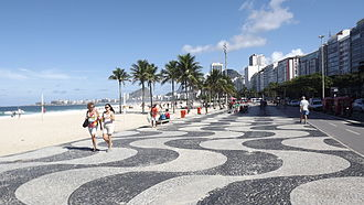 Copacabana, Rio de Janeiro - The Portuguese pavement wave pattern at Copacabana beach