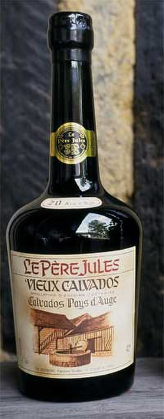 Fruit brandy - A bottle of Calvados, a French fruit brandy made from apples.
