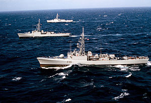 Canadian Restigouche class DDEs off Alaska 1983