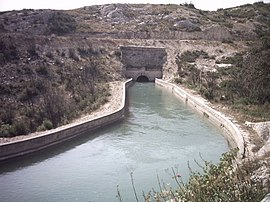 The Canal de Marseille enters a tunnel near Coudoux