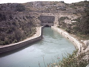 Canal de Marseille - The canal entering a tunnel near Coudoux