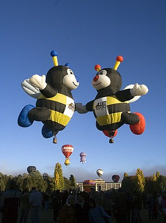Hot air balloon - Hot air balloons shaped like bees.