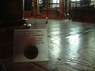 Thomas Becket - Candle marking the former spot of the shrine of Thomas Becket, at Canterbury Cathedral