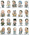 Caricatures of world leaders attending the 2010 G20 Summit in Seoul, South Korea.jpg