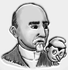 Carlo Collodi a Pinocchio - karikatura A. Koehna