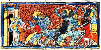 Contemporary depiction of a battle between Frankish and Norman knights