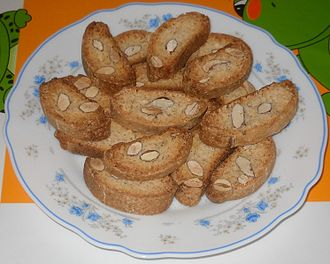 Biscotti - Carquinyolis, a Catalan variation of biscotti, made with whole or sliced almonds.