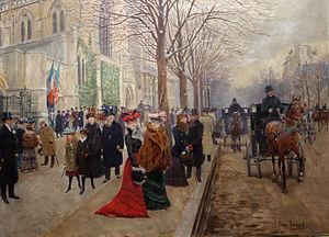 """American Cathedral in Paris - Après l'Office à l'Église de la Sainte-Trinité, Noël 1890 (""""After the Service at Holy Trinity Church, Christmas 1890"""") by Jean Béraud"""