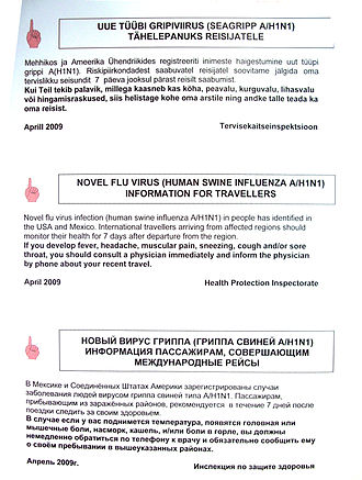 2009 flu pandemic in Europe - Health advisory issued by Estonian government