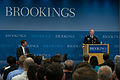 Chairman of the Joint Chiefs of Staff U.S. Army Gen. Martin E. Dempsey, at lectern, hosts a question and answer session with Peter W. Singer, the director of the Center for 21st Century Security and Intelligence 130627-D-KC128-059.jpg