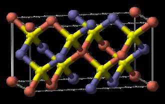Copper indium gallium selenide solar cells - Figure 3: CIGS unit cell. Red = Cu, Yellow = Se, Blue = In/Ga