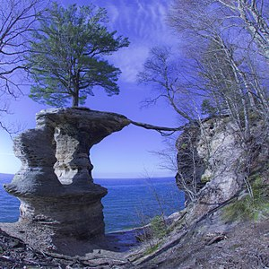 North Country Trail - Chapel Rock in the Pictured Rocks National Lakeshore seen from the N.C.T.