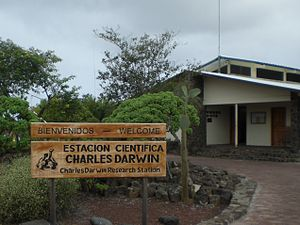 Charles Darwin Foundation - The entrance to Charles Darwin Research Station in Puerto Ayora, Galápagos Province, Ecuador.