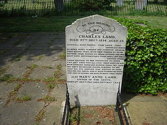1834 in poetry -  Charles and Mary Lamb's grave