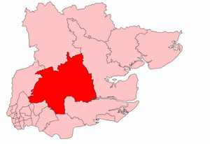 Chelmsford (UK Parliament constituency) - Chelmsford in Essex, showing boundaries used from 1945 to 1950.