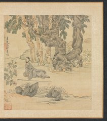 Paintings after Ancient Masters: Portrait of Zhongqing in a Landscape