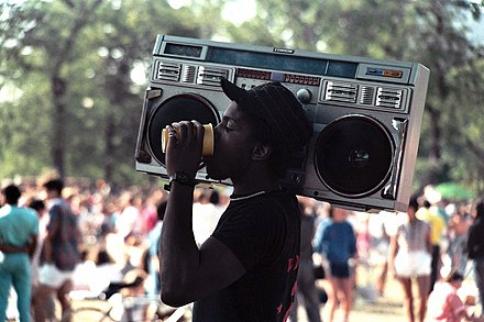 A man holding a boombox in 1985 Chicago Pride Parade 1985 033.jpg