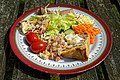 Chicken and ham pie salad Copped Hall house and gardens open day event, Essex, England 3.jpg