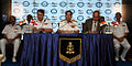 Chief of the Naval Staff Admiral RK Dhowan addressing national media at the International Fleet Review 2016.JPG