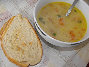Chicken soup and toast