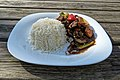 Chilli beef and rice at Highgate Cricket Club, Haringey, angle variant 2.jpg