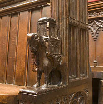 "Elephant and Castle - The ""elephant and castle"" from the 14th-century choir stalls in Chester Cathedral"