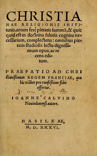 Institutes of the Christian Religion - Title page of the first edition (1536)
