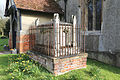Church of St Nicholas, Fyfield, Essex, England - tomb at north porch.jpg