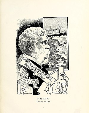 William M. Ampt - Caricature of Ampt, by E. A. Bushnell.
