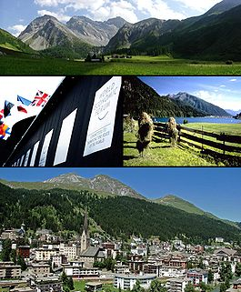 Top: View of the Sertig Valley, Middle left: World Economic Forum congress centre, Middle right: Lake Davos, Bottom: View over Davos