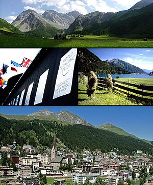 Davos - Top: View of the Sertig Valley, Middle left: World Economic Forum congress centre, Middle right: Lake Davos, Bottom: View over Davos