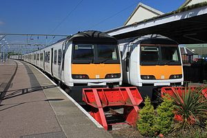Clacton-on-Sea railway station - Image: Clacton on Sea Greater Anglia 321335 and 321443