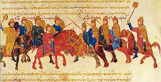 Basil II - Clash between the armies of Bardas Skleros and Bardas Phokas, miniature from the Madrid Skylitzes