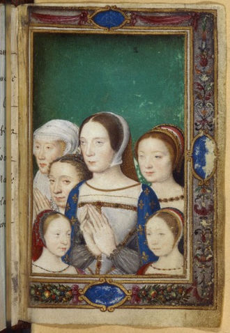 Claude of France - Claude surrounded by her daughters (Charlotte, Madeleine and Marguerite), her sister Renée (or her deceased older daughter Louise) and her husband's second wife Eleanor of Austria, in the Livre d'heures de Catherine de Medicis, 1550. Currently in the Bibliothèque nationale de France.