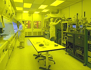 Cleanroom - Cleanroom used for the production of microsystems. The yellow (red-green) lighting is necessary for photolithography, to prevent unwanted exposure of photoresist to light of shorter wavelengths.