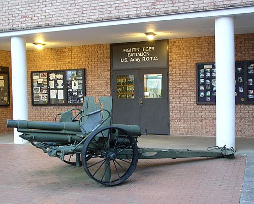 Clemson's U.S. Army ROTC Battalion headquarters, found in Johnstone Hall. Clemson ROTC cannon.jpg