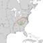 Clethra acuminata range map 2.png