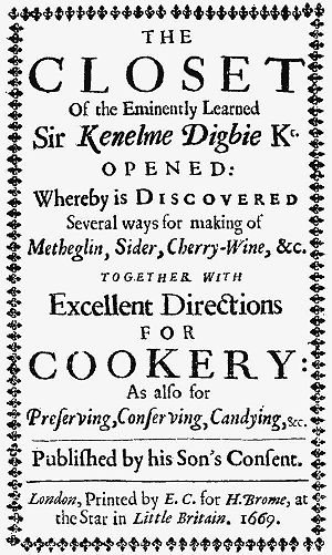 The Closet of the Eminently Learned Sir Kenelme Digbie Kt. Opened - Image: Closet of Sir Kenelme Digbie title page